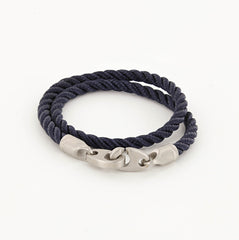 Catch Double Wrap Rope Bracelet with Matte Stainless Steel Brummels