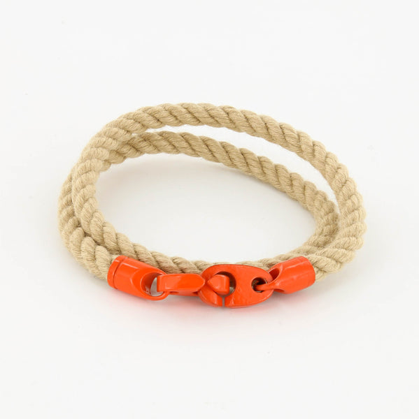 Signal Double Wrap Rope Bracelet with Orange Powder Coated Brummels and wheat Rope