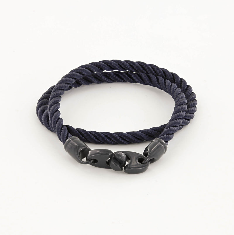 Signal Double Wrap Rope Bracelet with Dark Gray Powder Coated Brummels and Navy Rope