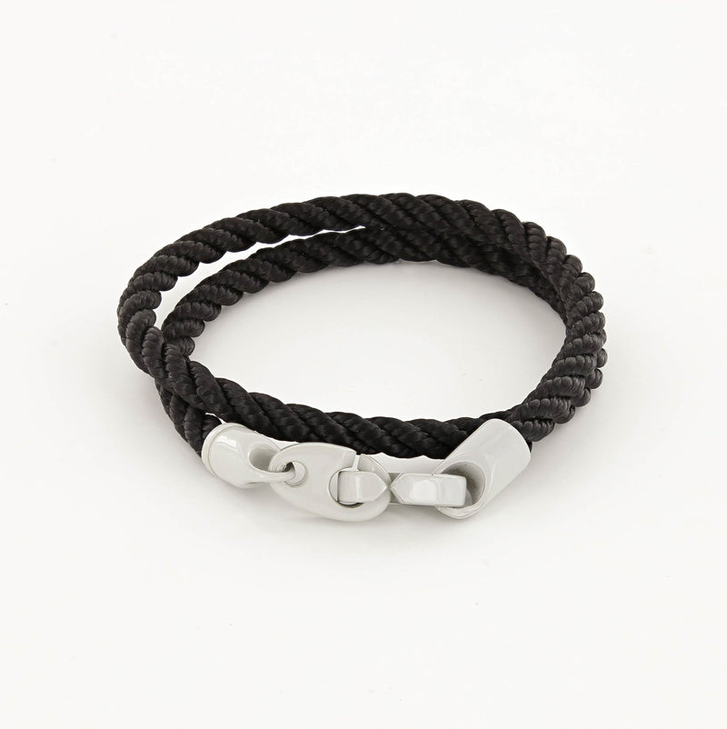 Signal Double Wrap Rope Bracelet with Light Gray Powder Coated Brummels and Black Rope