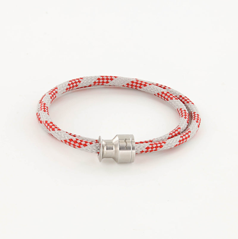 Voyager Double Wrap Rope Bracelet with Stainless Steel Winch Red And Gray