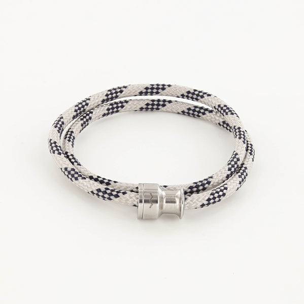 Voyager Double Wrap Rope Bracelet with Stainless Steel Winch Navy and Gray