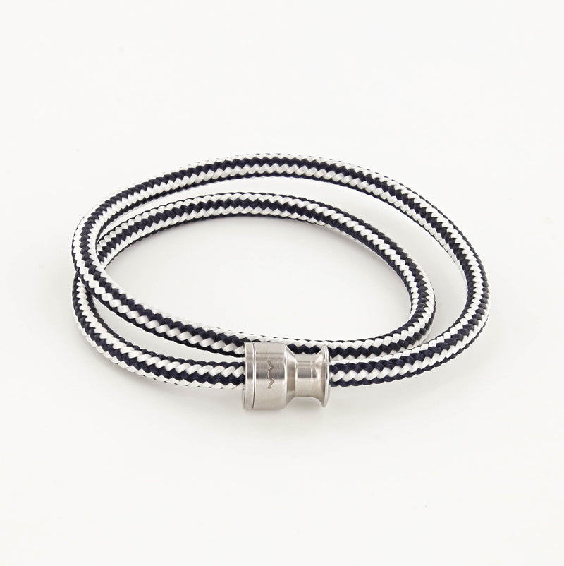 Voyager Double Wrap Rope Bracelet with Stainless Steel Winch Navy and White