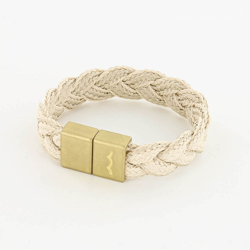 league, men's nautical magnetic brass bracelet with braid in natural