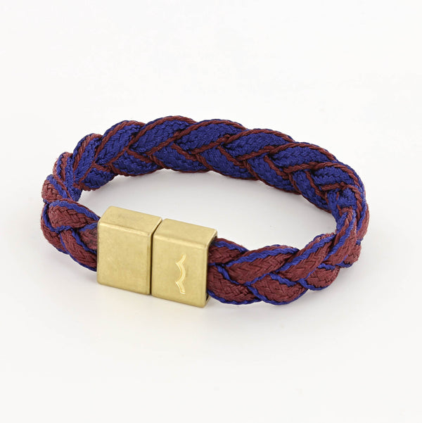 LAST CHANCE League Bracelet with Braid and Magnetic Clasp in Brass