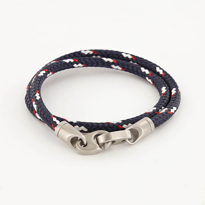 contender double wrap rope bracelet for men in navy red and white