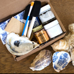 make your own Decoupage oyster shell kit with porcelain vase tissue paper