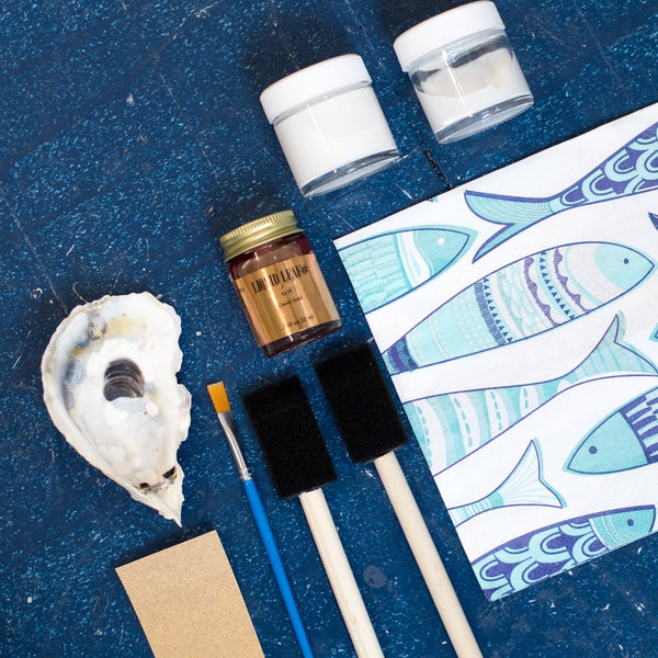 Decoupage oyster shell diy kit with fish tissue paper