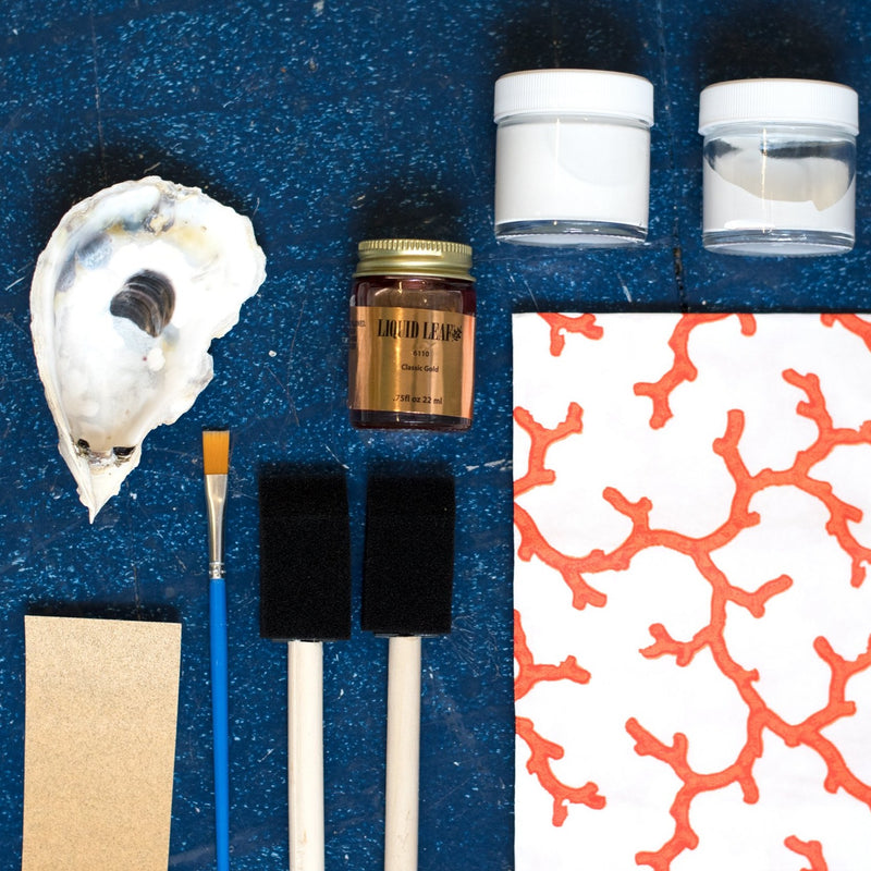 make your own Decoupage oyster shell kit with coral tissue paper