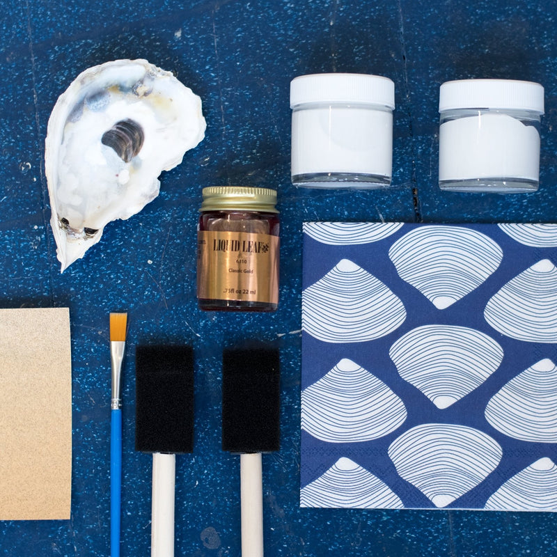 make your own Decoupage oyster shell kit with quahog tissue paper