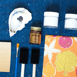 make your own Decoupage oyster shell kit with under the sea tissue paper
