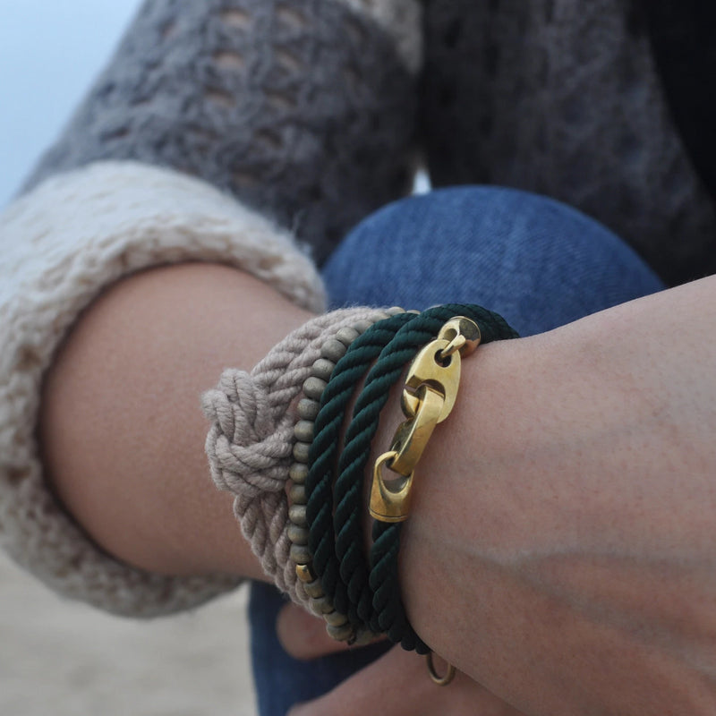 Endeavour Triple Rope Bracelet with Brass Brummels and Evergreen Rope