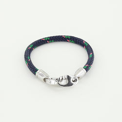 Volley Single Wrap Rope Bracelet with Stainless Steel Brummels in Navy, Green, Pink Braided Rope