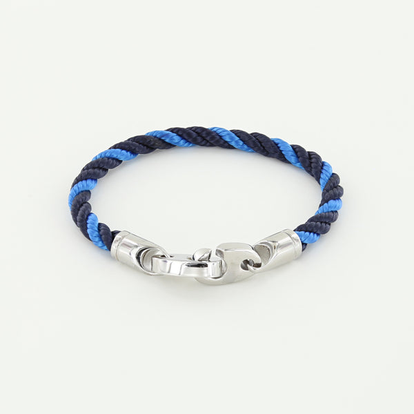 Volley Single Wrap Rope Bracelet with Stainless Steel Brummels in Navy Ocean Blue twisted rope