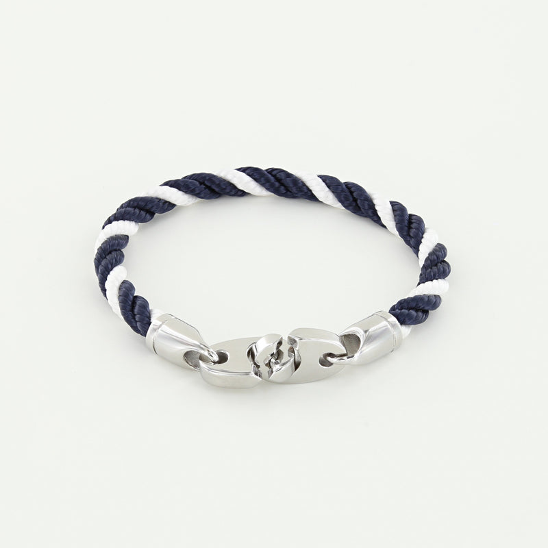 Volley Single Wrap Rope Bracelet with Stainless Steel Brummels in navy white twisted rope