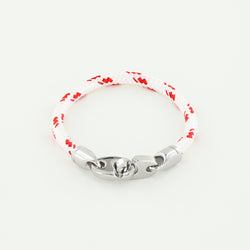 Volley Single Wrap Rope Bracelet with Stainless Steel Brummels in Red and White Braided Rope