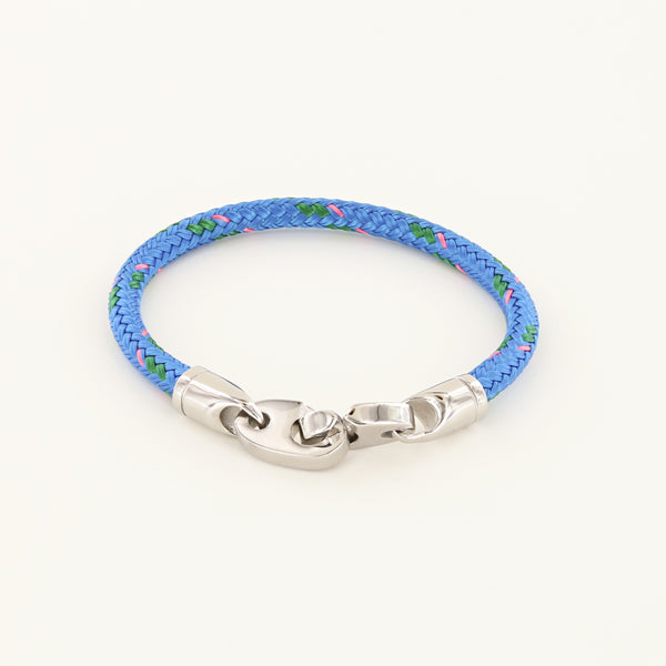 Volley Single Wrap Rope Bracelet with Stainless Steel Brummels in Ocean Blue, Green, Pink Rope