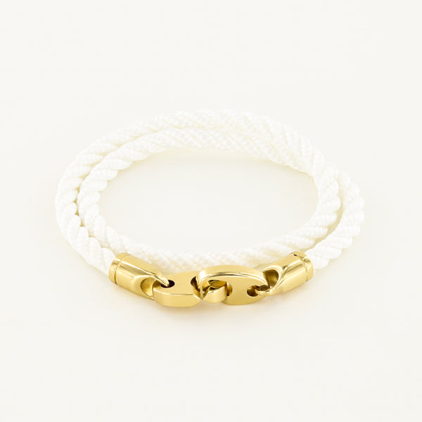 Endeavour Double Wrap Rope Bracelet with Polished Brass Brummels in white