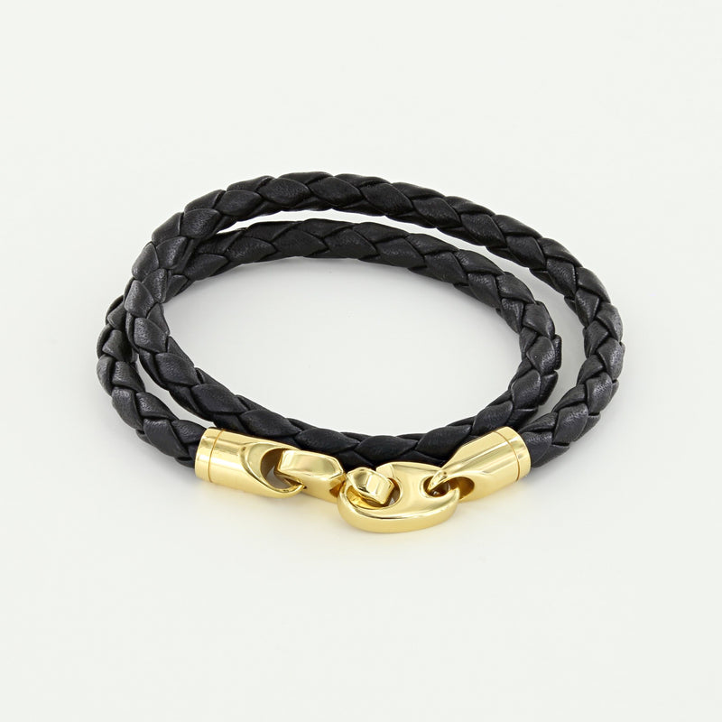 Endeavour Leather Double Wrap Bracelet with Polished Brass Brummels in black