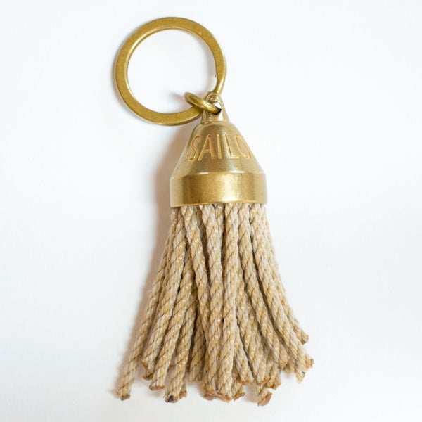 Guest House Tassel Keychain in Natural Rope