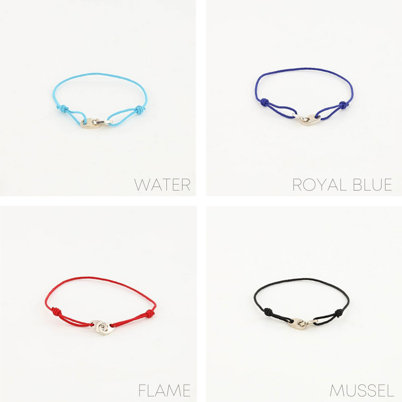 sterling silver nautical mini brummel bracelets in royal blue, ocean, red, and black