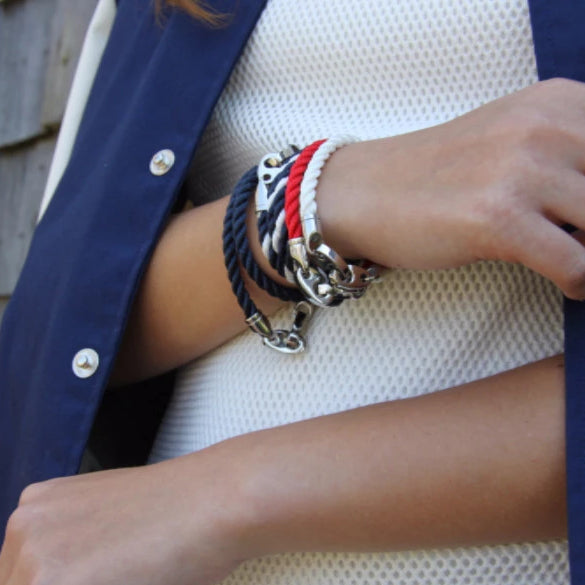 Elsewhere Double Rope Bracelet with Stainless Steel Brummels and Navy Rope