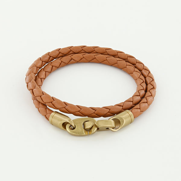 Journey Double Wrap Leather Bracelet with Matte Brass Brummels in Baked Brown