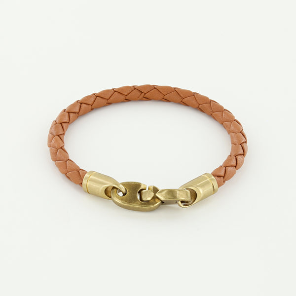 Journey Single Wrap Leather Bracelet with Matte Brass Brummels in Baked Brown