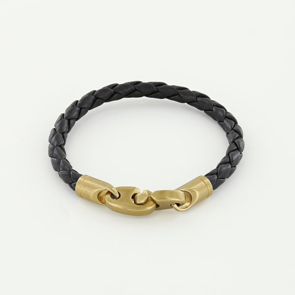 Journey Single Wrap Leather Bracelet with Matte Brass Brummels in Black