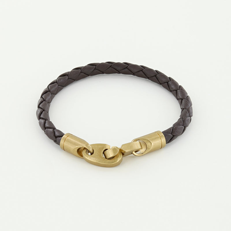 Journey Single Wrap Leather Bracelet with Matte Brass Brummels in Deep Dark Brown