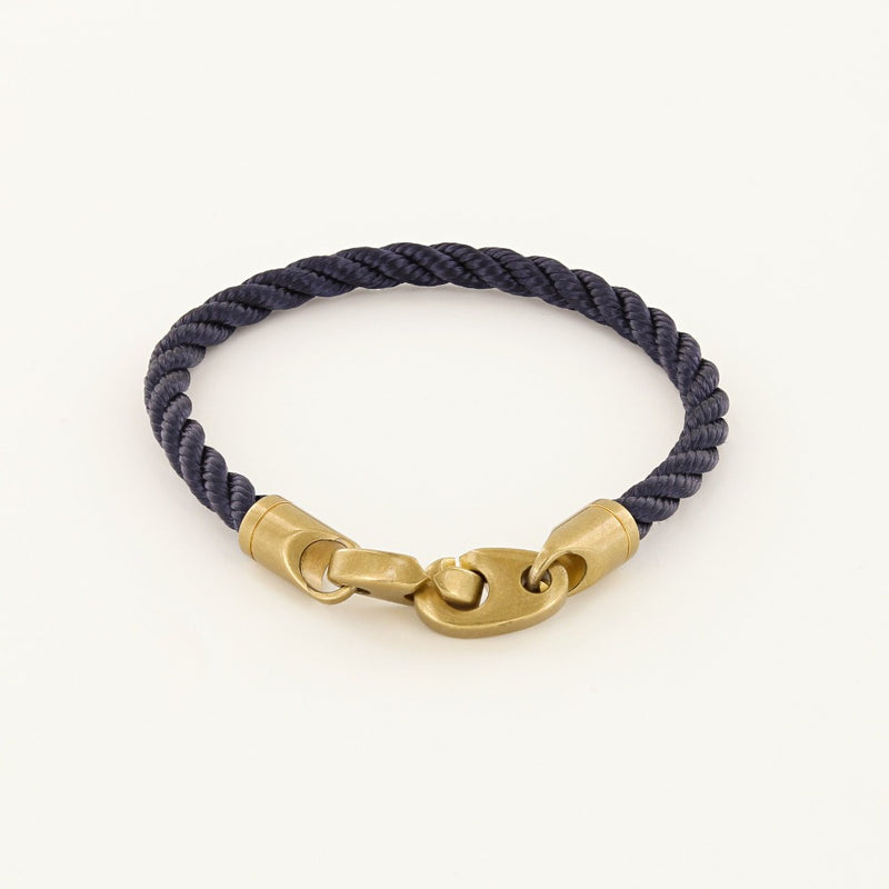 Journey Single Wrap Rope Bracelet with Matte Brass Brummels in Navy