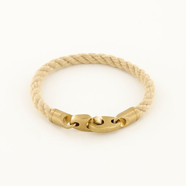 Journey Single Wrap Rope Bracelet with Matte Brass Brummels in Natural Wheat
