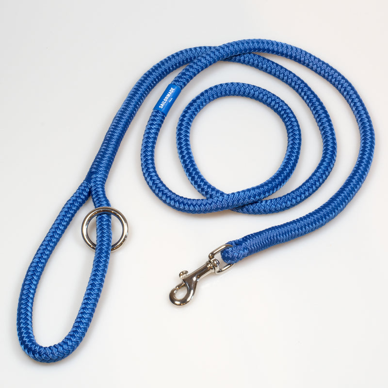 Riptide Reggie Rope Dog Leash in Bright Blue with Polished Nickel Hardware