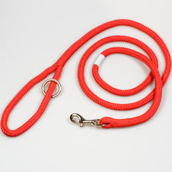 Riptide Reggie Rope Dog Leash in Reel Red with Polished Nickel Hardware