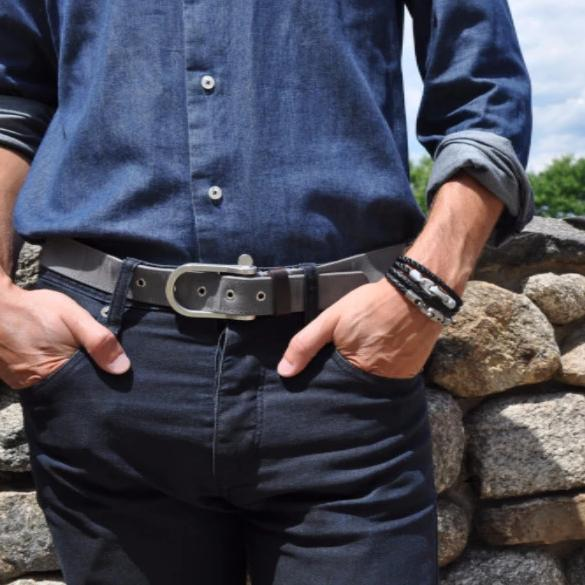 Catch Double Leather Bracelet with Matte Stainless Steel Brummels and Black Leather