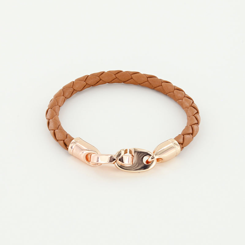 Lure Single Wrap Leather Bracelet with Rose Gold Brummels in baked brown
