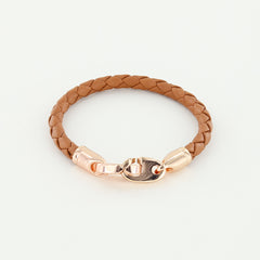 Lure Single Wrap Leather Bracelet with Rose Gold Brummels