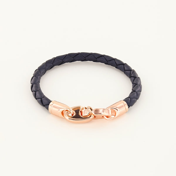 Lure Single Wrap Leather Bracelet with Rose Gold Brummels in midnight navy