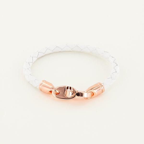 Lure Single Wrap Leather Bracelet with Rose Gold Brummels in white