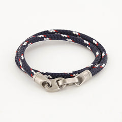 Contender Double Wrap Rope Bracelet with Matte Stainless Steel Brummels