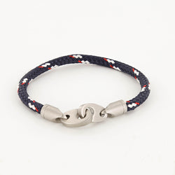 Contender Single Wrap Rope Bracelet with Stainless Steel Brummels in Navy Red White
