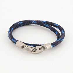 Contender Double Wrap Rope Bracelet with Matte Stainless Steel Brummels in Navy Sports Blue