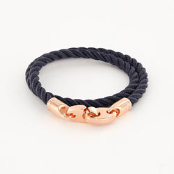 Lure Double Wrap Rope Bracelet with Rose Gold Brummels in navy