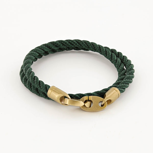 Journey Double Wrap Rope Bracelet with Matte Brass Brummels in Evergreen