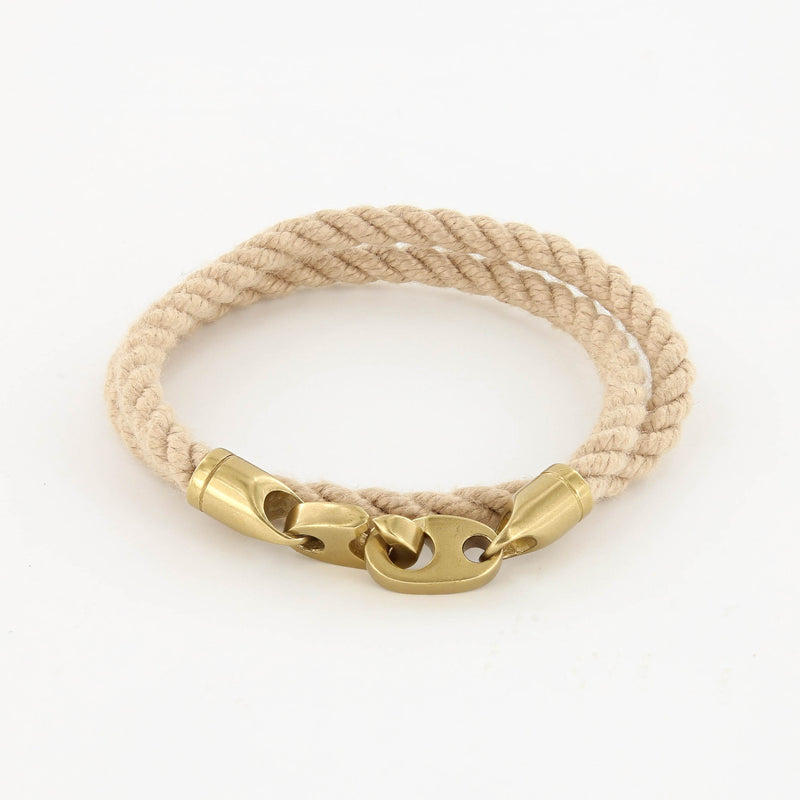 Journey Double Wrap Rope Bracelet with Matte Brass Brummels in Wheat