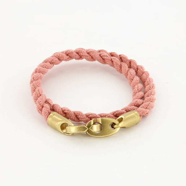 Journey Double Wrap Canvas Bracelet with Matte Brass Brummels in Breton Red