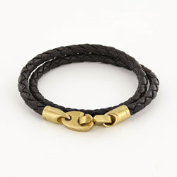 Journey Double Wrap Leather Bracelet with Matte Brass Brummels in Black