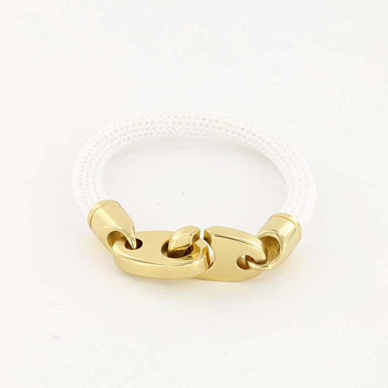 Charter Big Brummel Bracelet with Braided Rubber Wrap in Polished Brass and White