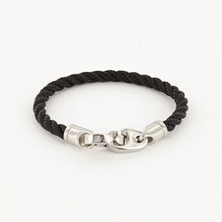 Elsewhere Single Wrap Rope Bracelet with Stainless Steel Brummels in black