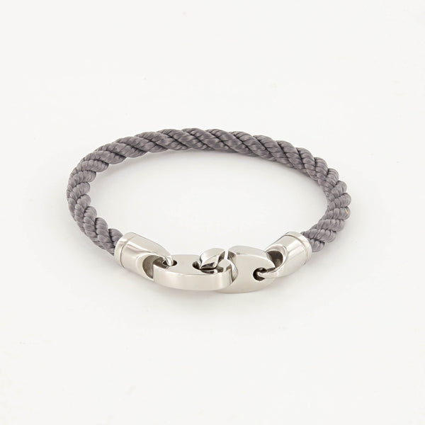 Elsewhere Single Wrap Rope Bracelet with Stainless Steel Brummels in charcoal gray